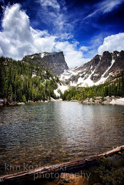Dream Lake, Rocky Mountain National Park, Colorado  There was still snow @ the top of these mountains in July.  Beautiful!!!