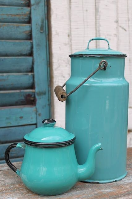 turquoise enamelware | collectibles + home decor                                                                                                                                                      More