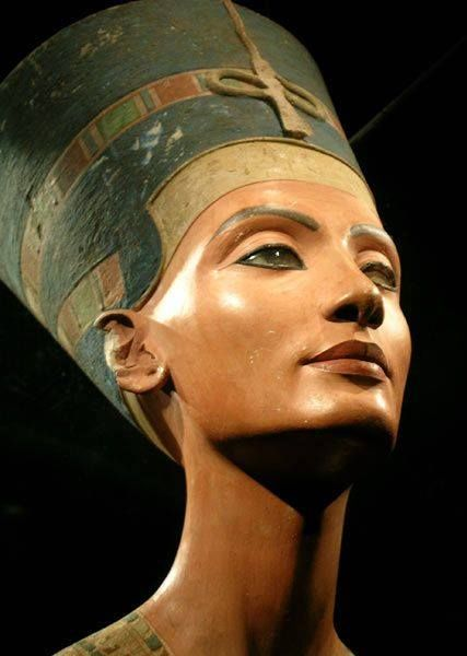 The Nefertiti Bust is a 3,300-year-old painted stucco-coated limestone bust of Nefertiti, the Great Royal Wife of the Egyptian Pharaoh Akhenaten. The work is believed to have been crafted in 1345 BC by the sculptor Thutmose, because it was found in his workshop in Amarna, Egypt