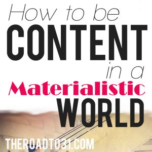 How to be content in a materialistic world