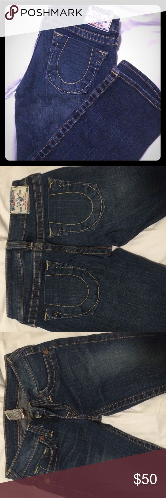"❗️SALE❗️True Religion Jeans Great condition. Authentic True Religions. No stains or wear and tear.   Dark wash | Straight Legged Size: 25  Inseam: 33""  Feel free to make an offer & we can work something out! True Religion Jeans Straight Leg"