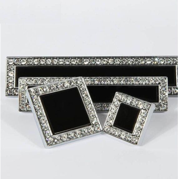Black Glass Dresser Pulls Drawer Pull Handles Crystal