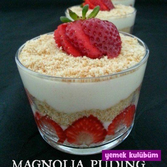kolay pratik magnolia puding tarifi yapılışı nasıl yapılır, farklı değişik magnolia muzlu çilekli puding tarifleri, resimli sütlü tatlı tarifleri