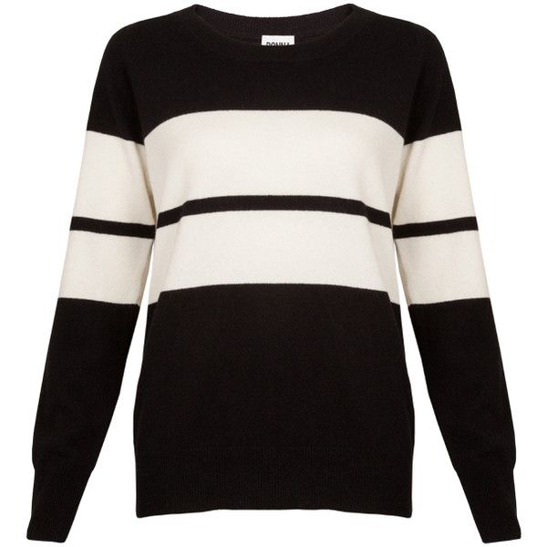 DONNA IDA Winter In The City Cashmere Jumper - Black and White ($320) ❤ liked on Polyvore featuring tops, sweaters, black and white, loose fitting tops, scoop neck cashmere sweater, ribbed top, cashmere sweaters and loose sweater