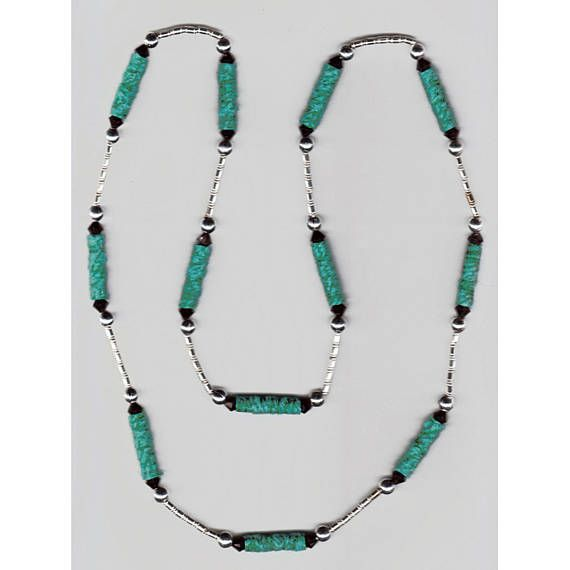 One-of-a-kind Handmade Necklace with turquoise Fiber Beads