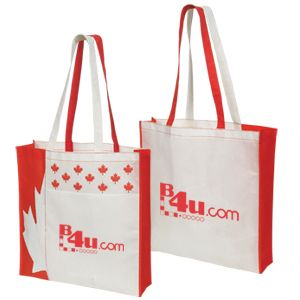 NW6768-NON WOVEN CANADA TOTE-White and Red