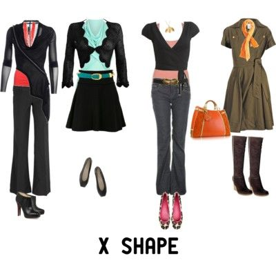 X Body Shape: Tuck and belt; Wrap dresses are great; Bootleg jeans are great; single-breasted jackets better than double-breasted