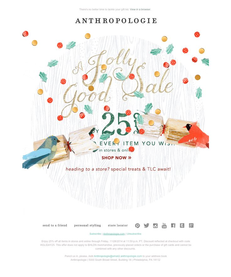 """Anthropologie - Black Friday sale email with animated .gif - Nov. 28, 2014 - """"Today only: 25% OFF the entire store!"""""""