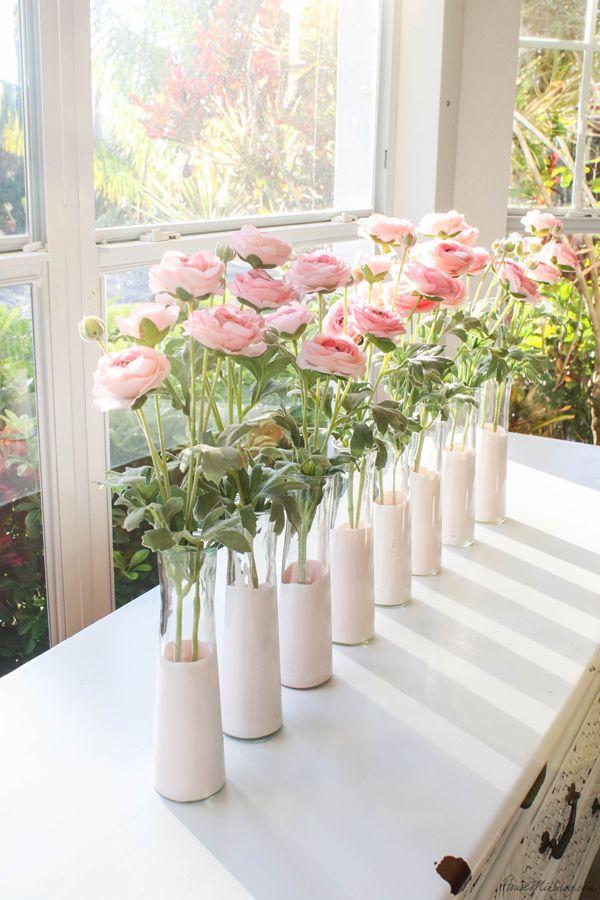 Diy Pink Dip Dyed Dollar Store Vases Bridal Shower Centerpieces