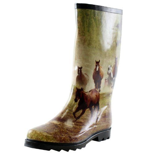 Comfortable Rain Boots in Horse Motif | Friendly Faces