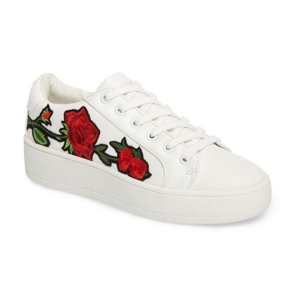Women's Steve Madden Bertie Floral Applique Sneaker (195 TND) ❤ liked on Polyvore featuring shoes, sneakers, white multi, floral platform sneakers, platform shoes, rose shoes, floral sneakers and platform trainers