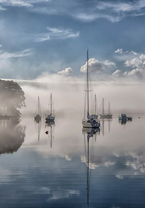 Sail boats in the mist, morning mist, misty, mysterious, water, reflections, clouds, peaceful, beautiful scenery, Beauty of Mother Nature
