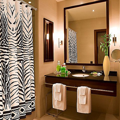 Elegant Bathroom With Brown Color Combination With Some Pictures With Theme Zebra  Print Bathroom Ideas With