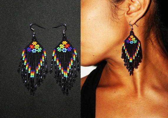 Nativos americanos pendientes aretes Huichol nativos