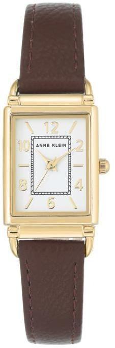 Anne Klein Goldtone Tank Case Brown Strap Watch