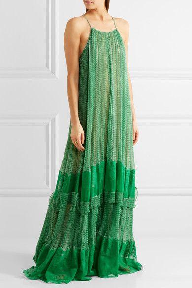 Stella McCartney - Lace-paneled Printed Silk-blend Georgette Gown - Green - IT