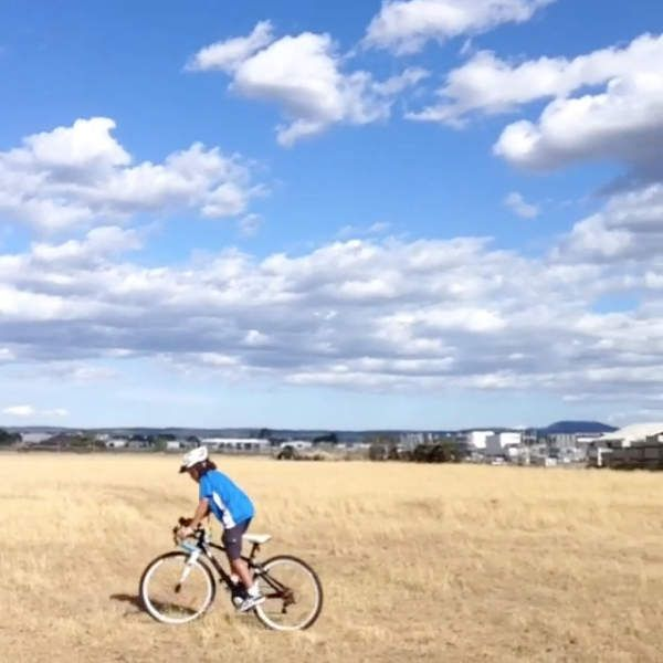 10 year old Miles riding his 540CX Kids Cyclocross Bike through the fields of Ballarat