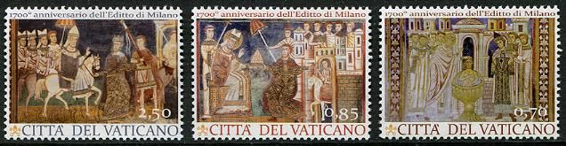 Vatican City Stamps - Sc.# 1532-34 - Edict of Milan Joint with Italy (3)