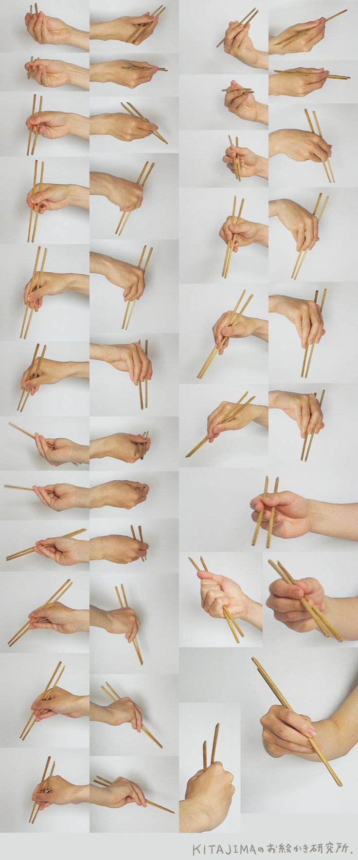 Use chopsticks with right hand