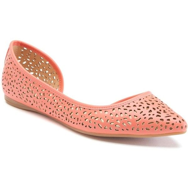 Apt. 9® Satisfy Women's Pointed-Toe D'Orsay Flats ($20) ❤ liked on Polyvore featuring shoes, flats, orange oth, orange shoes, orange flat shoes, pointy-toe flats, flat d orsay shoes and cutout flats
