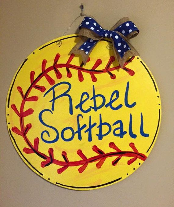 softball wooden door hanger personalized by