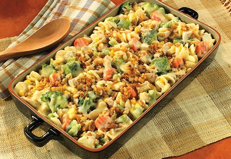 Try this tasty, quick-cooking casserole featuring chicken, colorful vegetables and a special ingredient - stuffing - that adds great texture and flavor.