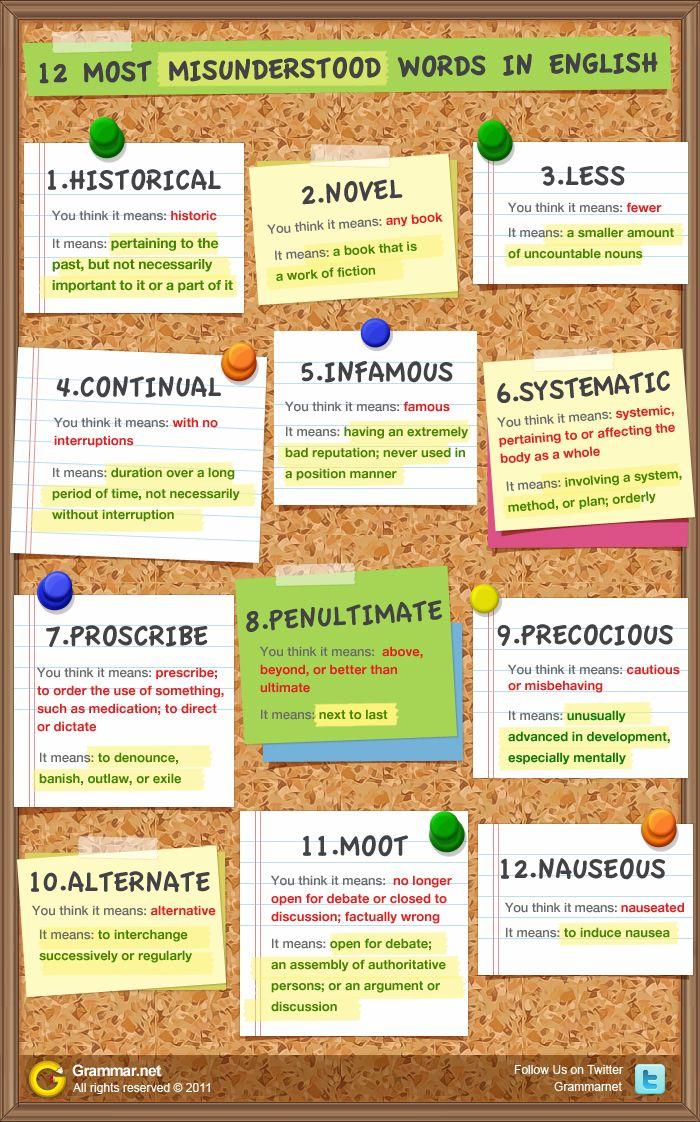 Aprende ingles: otras 12 palabras de idioma ingles que confunden a menudo #infografia