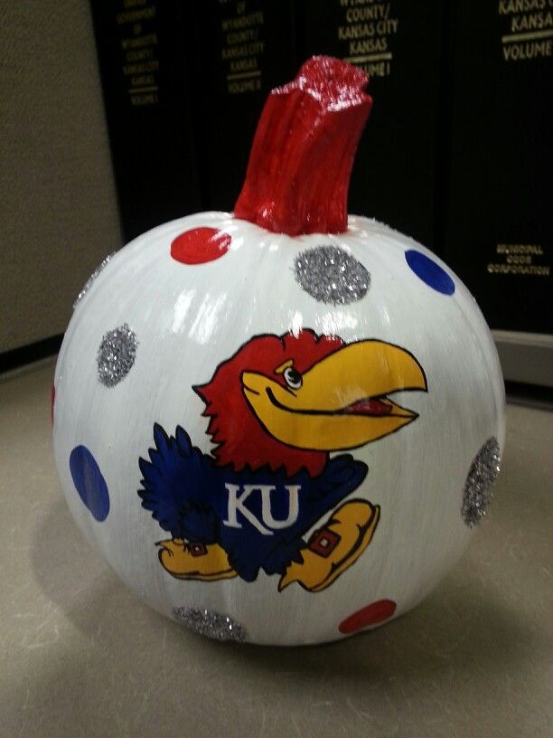 Kansas Jayhawk KU Hand Painted Glitter Pumpkin Halloween 2013 Rock Chalk RCJH