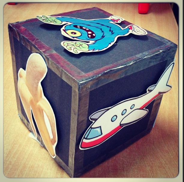 Story cube. Create a cube and velcro random images on the sides. Children roll the dice three times and use those images to create a story. Great for their imagination!