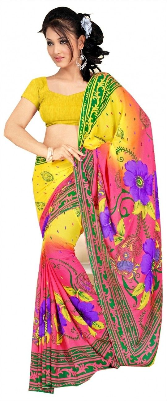 Shaded pink and yellow saree with unstitched blouse (12002) - online shopping for georgette sarees by designersareez