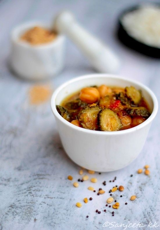 Bitter Gourd and Chickpea Pitlai! Indian delicay. #recipes #vegetarian