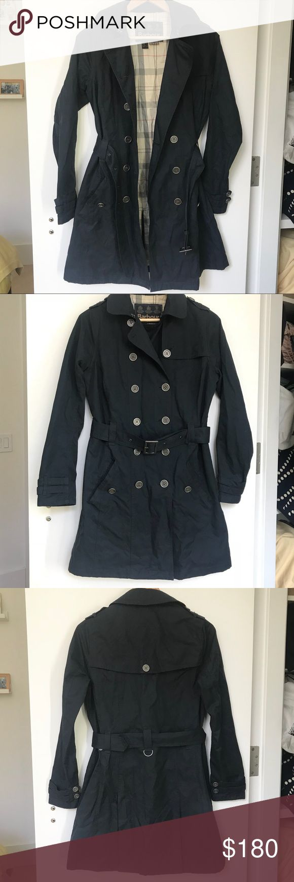 Barbour Navy Button Trench Coat Beautiful Jacket, lovely details in metal buttons, inner jacket pocket and belt straps. Collar has a clasp for colder weather as well. The material is nice and lightweight but still sturdy. It's slightly water resistant, but not a raincoat. Barbour Jackets & Coats Trench Coats