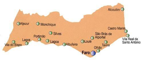 Mapa do Distrito de Faro, Portugal