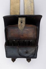 Infantry ammunition pouch, other ranks, 1855 (c).Although this British Army ammunition pouch is dated 1860, it is of the type worn in the Crimean War (1854-1856). Some infantry troops were issued with the waist belt and pouch at the beginning of the Crimean War and gradually these replaced the old, uncomfortable cross straps.