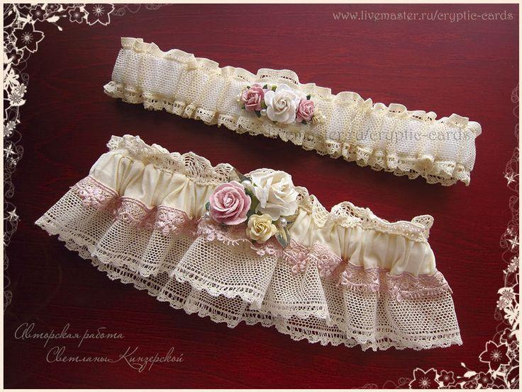 """Купить Свадебные подвязки для невесты """"Шебби шик"""" - бледно-розовый, подвязка невесты, подвязки"""