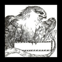 """An exlibris depicting a Gryphon; December, 2008; ink on illustration board; 4.5""""w x 6.5""""h.  Imagine having him to guard your books...none would ever go missing."""