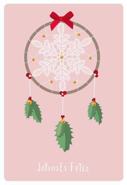 Free--Carte de voeux dreamcatcher--rose. M.A creation graphique.