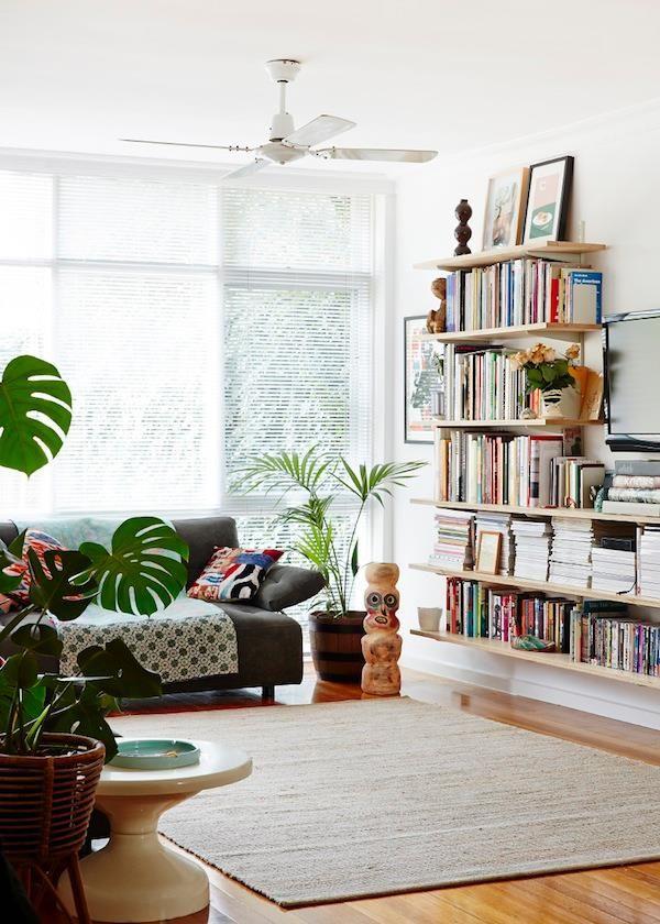plantas, libro, alfombra