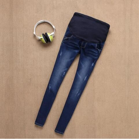 Thai sản Quần Jeans Đối Phụ Nữ Mang Thai Dưỡng Jeans Dài Bụng Prop Legging Gầy Quần Áo Thai Sản Cho Mang Thai Quần
