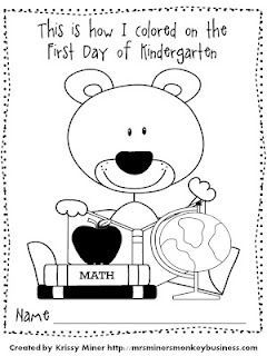 Mrs. Miner's Kindergarten Monkey Business: back to school AND End of year Freebie - I think the kinders would be tickled to see their beginning of the year coloring page at the end of the year to compare!
