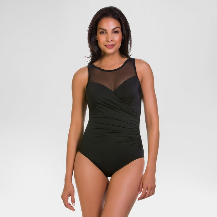 Women's Slimming Control Mesh High Neck Control One Piece Swimsuit Black 12 - Dreamsuit by Miracle Brands