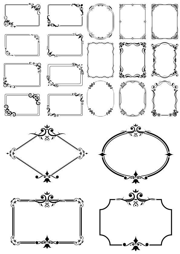 Decor Border Frames Set Free Vector Free Vector Ornaments Vector Free Frame Set