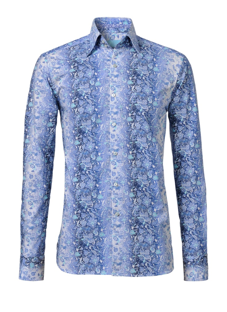 This is a nice blue shirt with a very special print. This is a modern fit.  This shirt costs now € 139.95 at http://hemdenonline.nl/overhemden/overhemden-olymp-luxor-modern-fit-wit-0300-64-2832.html#