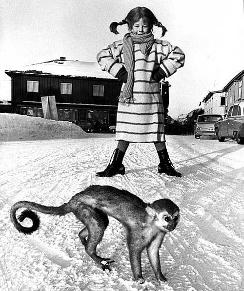 Pippi met meneer Nilsson.