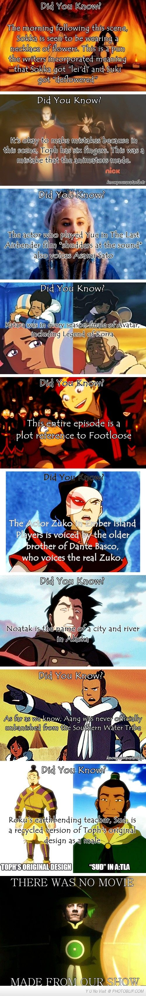 Avatar - The Last Airbender (and The Legend Of Korra) Fun Facts Dat first one tho