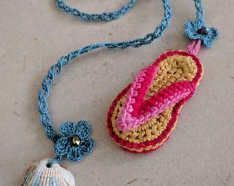 Segnalibro uncinetto ciabatta infradito Flip-flop crochet bookmark