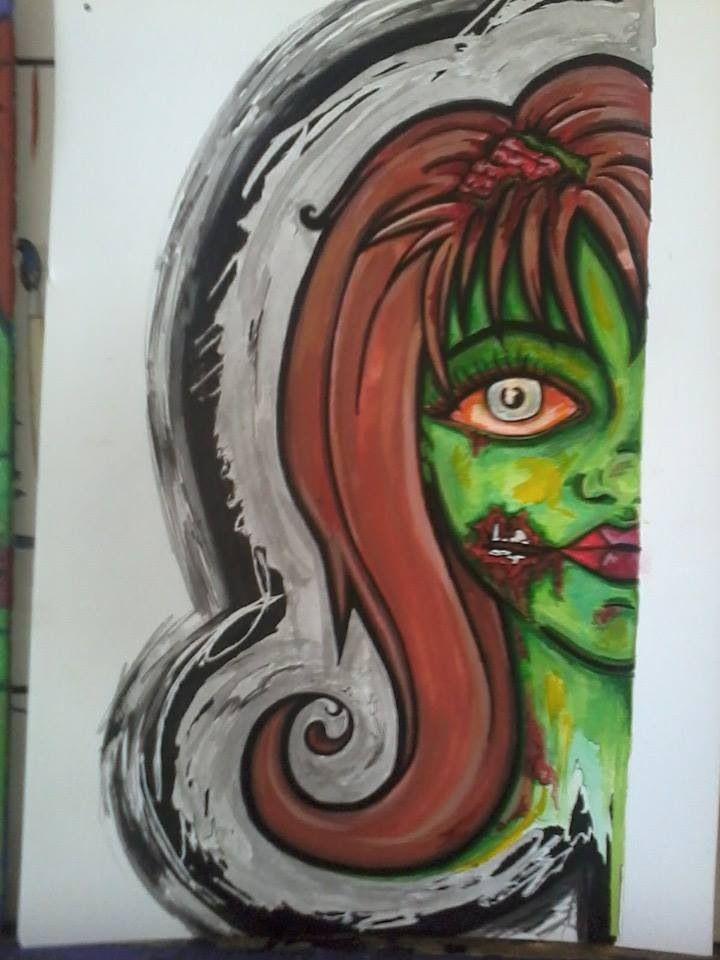 Zombie face. Ink and gouache paint.Print available. All artwork posted is done by me (neonstar) unless stated