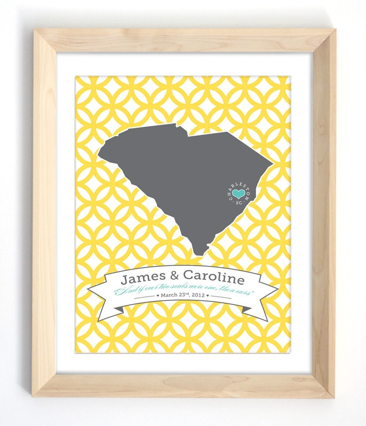 South Carolina Wedding Print Featured in by earlybirdink on Etsy. $24.00, via Etsy.