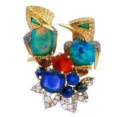 Opal and gemstone bird brooch
