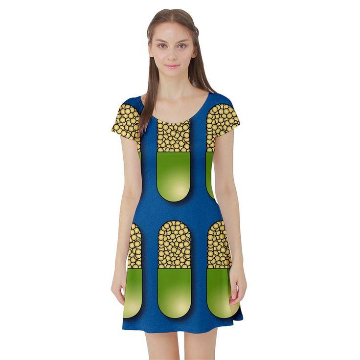 Capsule+Pattern+Short+Sleeve+Skater+Dresses
